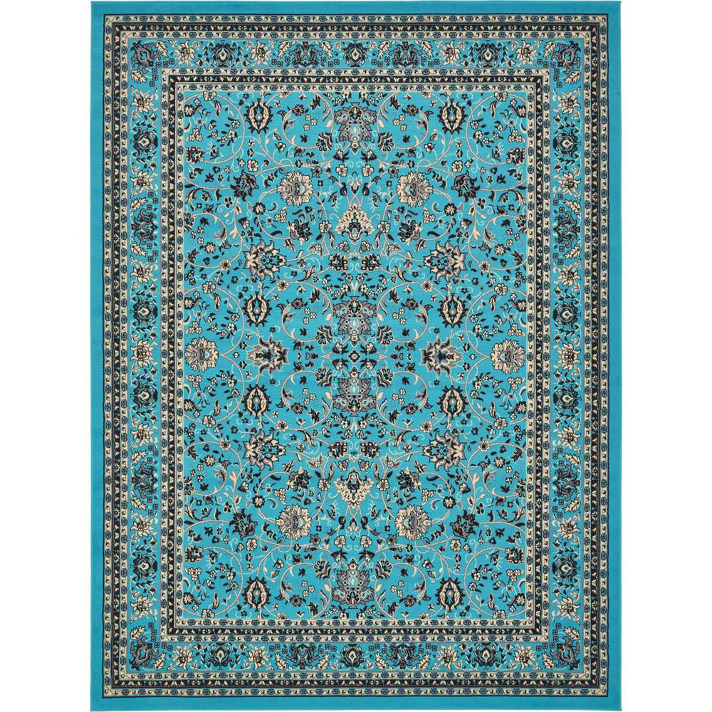 Linoleum Rug Turquoise Terracotta Area Rug Or Kitchen Mat: Unique Loom Kashan Turquoise 9' 0 X 12' 0 Area Rug-3134490
