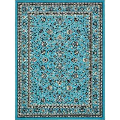 Sialk Hill Turquoise 9 ft. x 12 ft. Area Rug