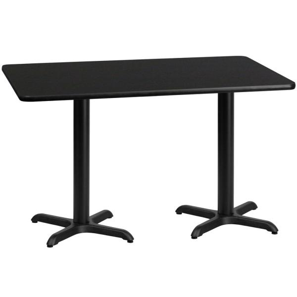Astounding 30 In X 60 In Rectangular Black Laminate Table Top With 22 In X 22 In Table Height Bases Home Remodeling Inspirations Cosmcuboardxyz