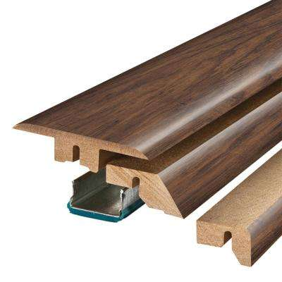 Coffee Handscraped Hickory 3/4 in. Thick x 2-1/8 in. Wide x 78-3/4 in. Length Laminate 4-in-1 Molding