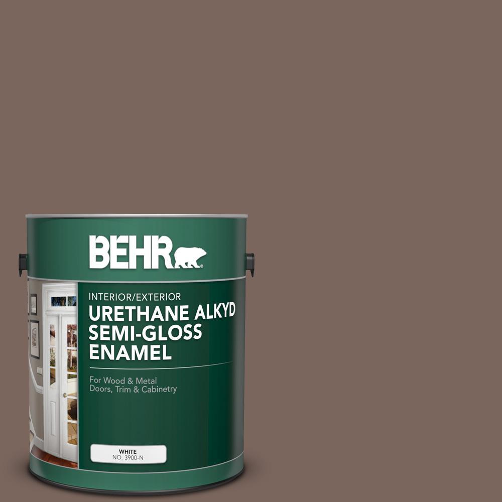 BEHR 1 gal  #AE-5 Chocolate Brown Urethane Alkyd Semi-Gloss Enamel  Interior/Exterior Paint