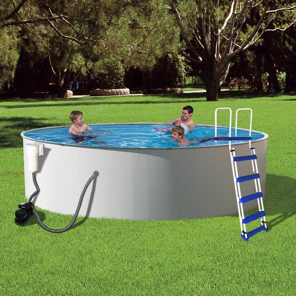 Beautiful Round 52 In. Deep Metal Wall Swimming Pool Package NB2018   The Home Depot Good Looking