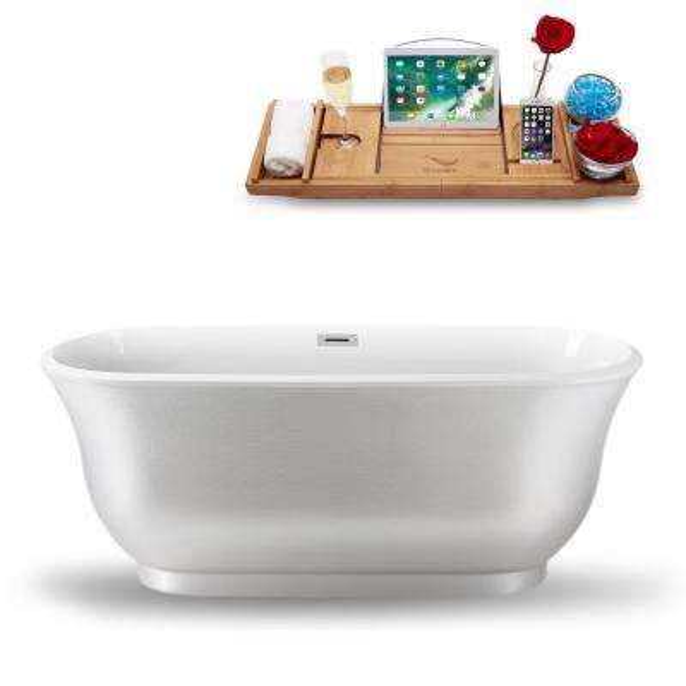 59.1 in. Acrylic, Fiberglass Flatbottom Non-Whirlpool Bathtub in Glossy Pearl White
