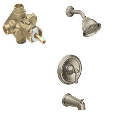 Kingsley Single-Handle 1-Spray PosiTemp Tub and Shower Faucet Trim Kit with Valve in Brushed Nickel (Valve Included)