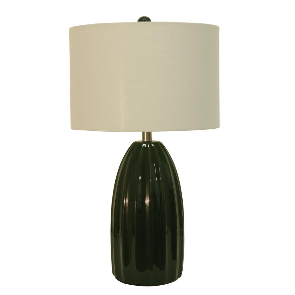 Cannon 27 in. Green Table Lamp with Linen Shade