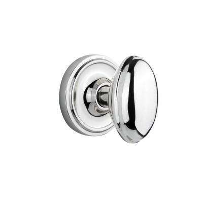 Classic Rosette 2-3/8 in. Backset Bright Chrome Passage Homestead Door Knob