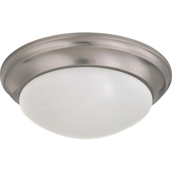 2-Light Brushed Nickel Flush Mount Twist and Lock with Frosted White Glass