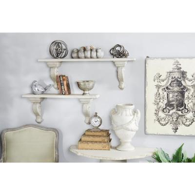 LITTON LANE Large Beige and White Floating Wall Shelf with Decorative Scrollwork