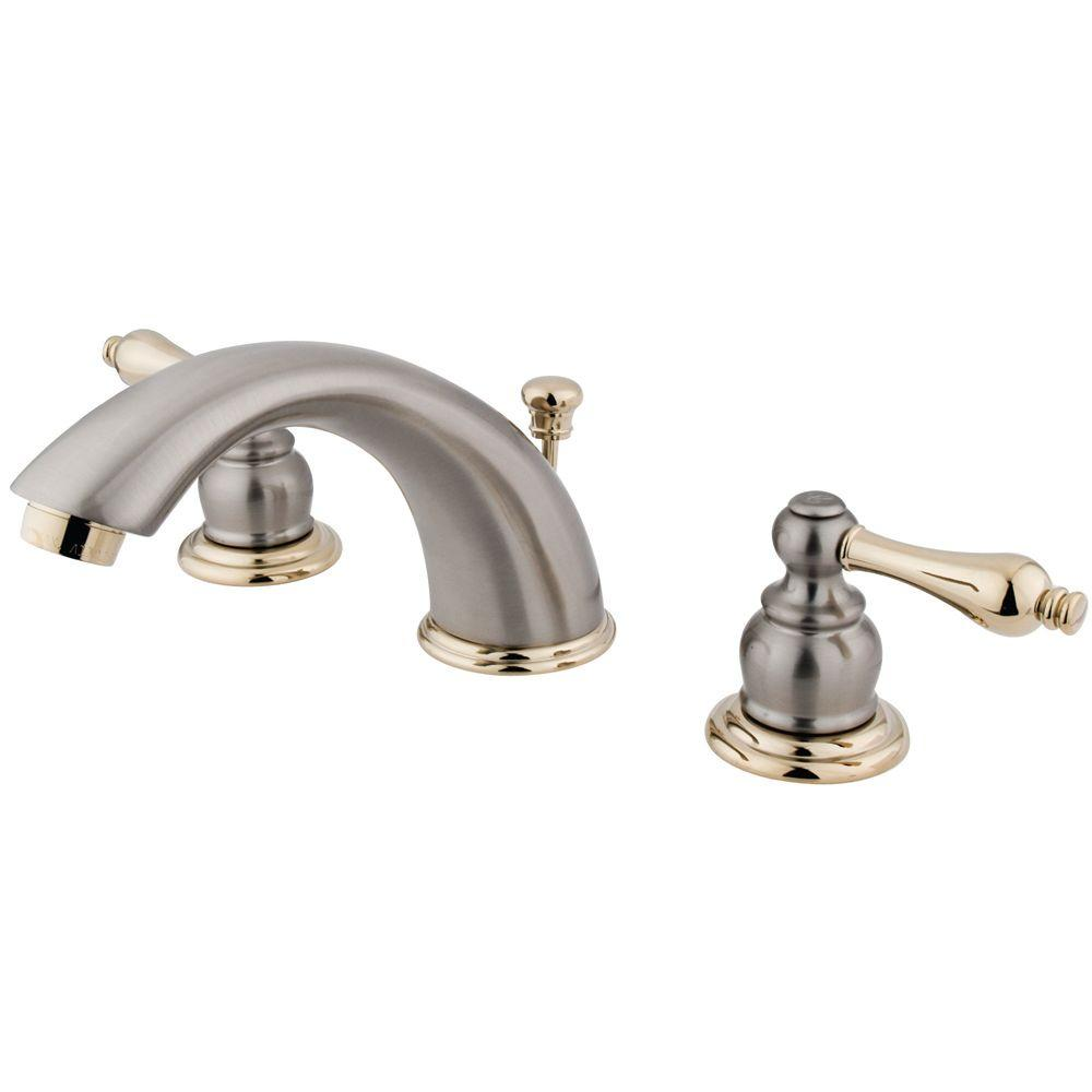 Kingston Brass Victorian 8 in. Widespread 2-Handle Mid-Arc Bathroom Faucet in Satin Nickel and Polished Brass