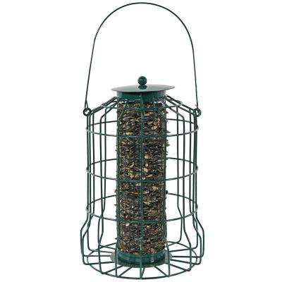 Outdoor Garden Green Wire Squirrel-Proof Caged Hanging Bird Feeder