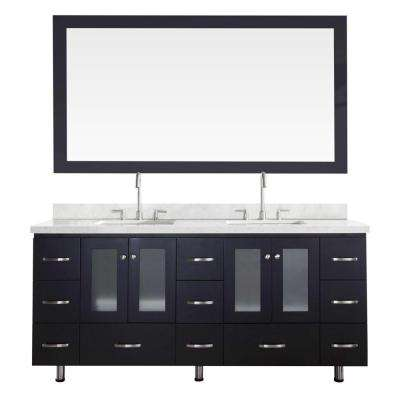 Americano 73 in. Vanity in Black with Quartz Vanity Top in White with White Basins and Mirror
