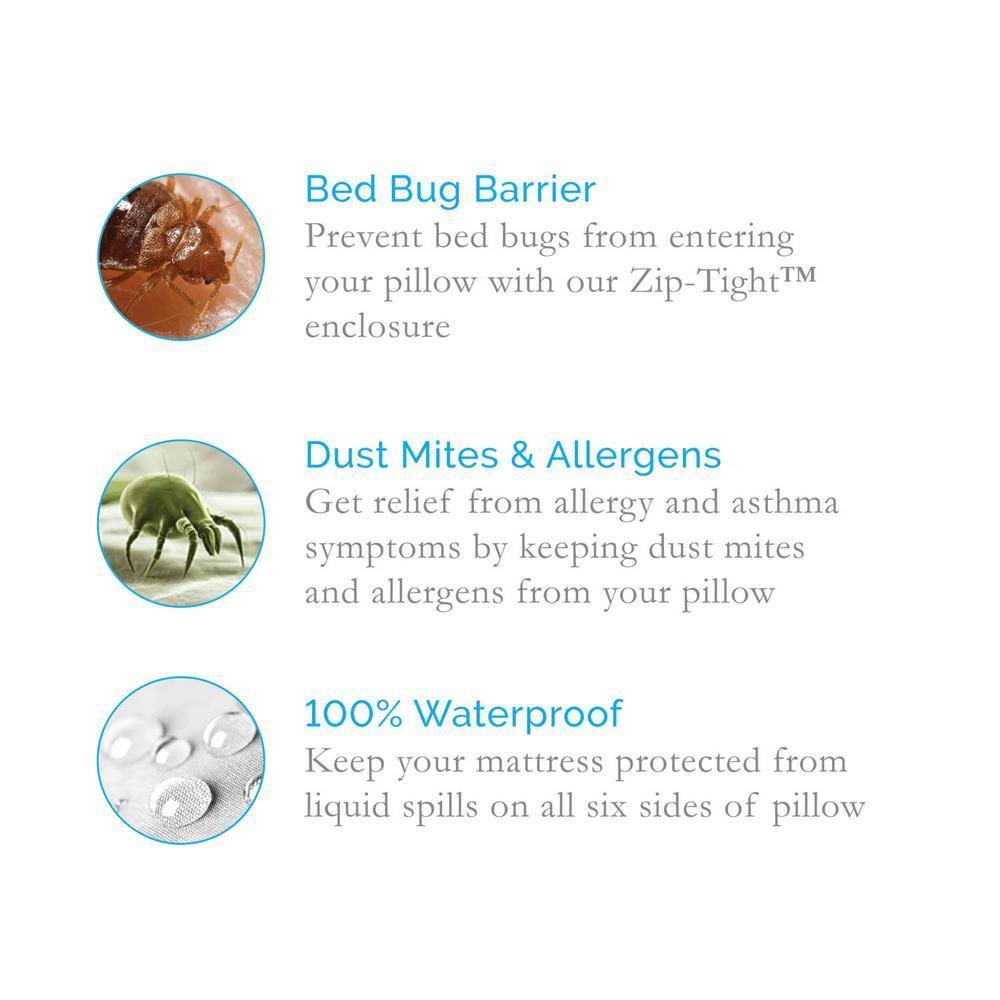 Queen Premium Pillow Protector 100/% Waterproof,Vinyl Free Bed Bug//Dust Mite Pr
