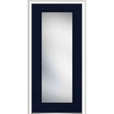 36 in. x 80 in. Micro Granite Right-Hand Inswing Full Lite Decorative Painted Fiberglass Smooth Prehung Front Door