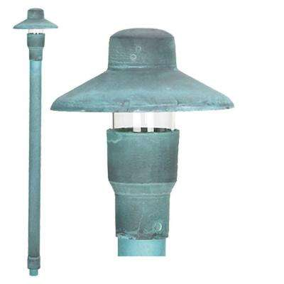 1-Light Verde Green Die Cast Brass Path Light