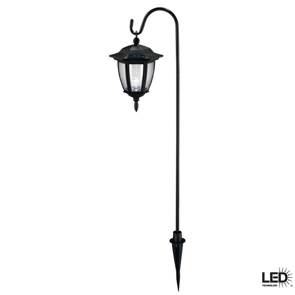 Hampton Bay Solar Black Outdoor Integrated LED Shepard Hook Landscape Path Light with Clear Plastic Lens (4-Pack)