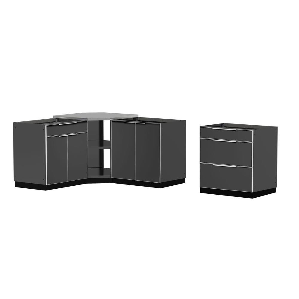 Aluminum Slate 4-Piece 110x36x76 in. Outdoor Kitchen Cabinet Set without Counter