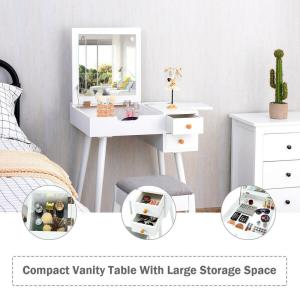 Costway 2-Drawer White Vanity Table Set with Flip Top Mirror ...