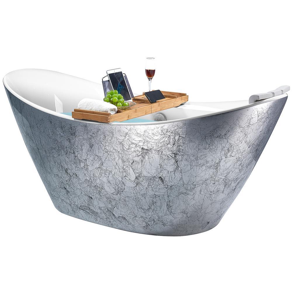 AKDY Freestanding 67 in. Acrylic Flatbottom Bathtub Modern Stand Alone Tub Luxurious SPA Tub in Glossy Silver, Glossy silver foil was $1699.0 now $999.99 (41.0% off)
