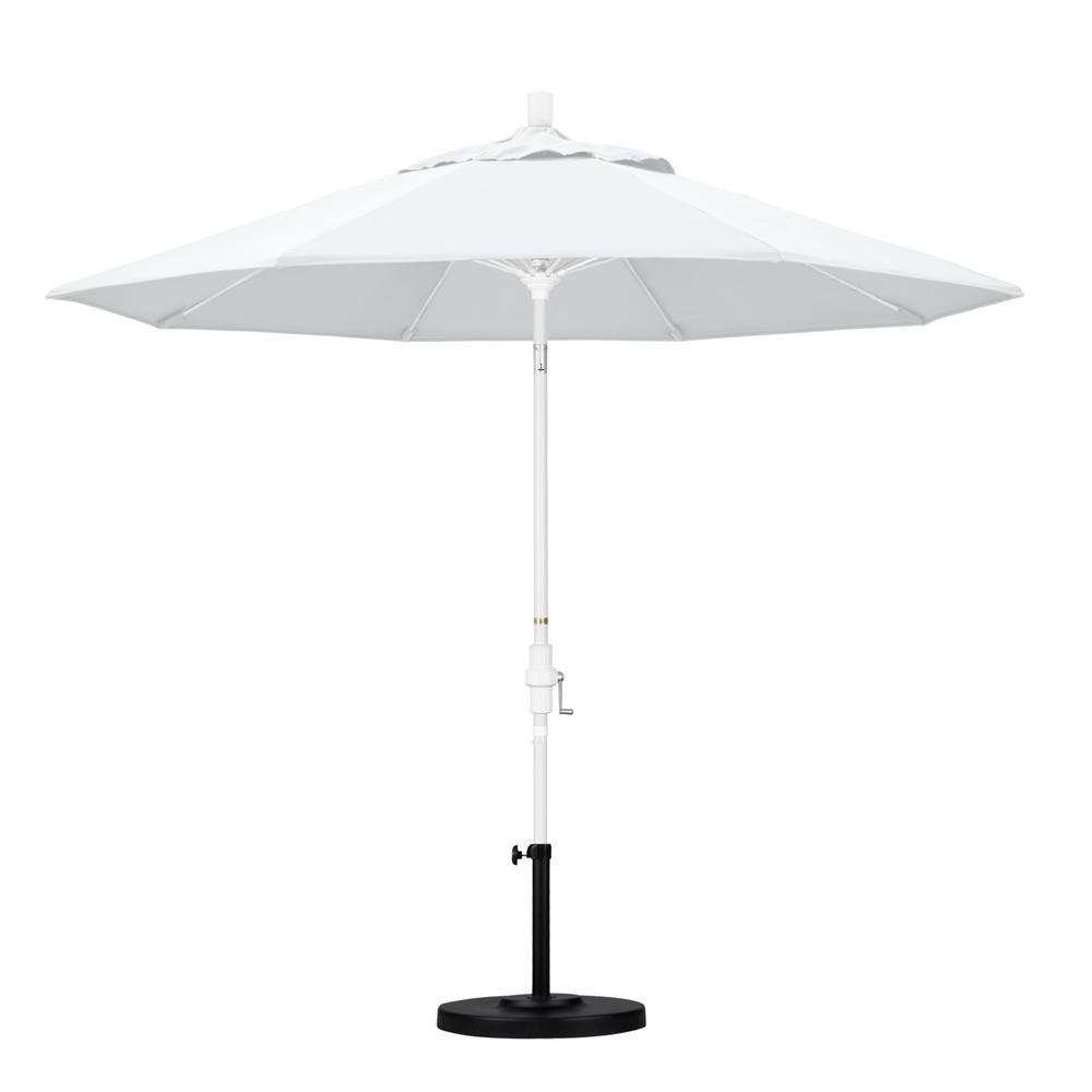 California Umbrella 9 ft. Matted White Aluminum Market Patio Umbrella with Fiberglass Ribs Collar Tilt Crank Lift in Natural Sunbrella