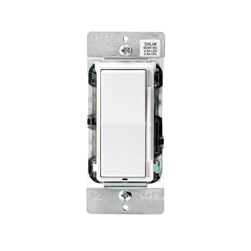 Decora 600-Watt Single-Pole/3-Way Universal Rocker Slide Dimmer, White (2-Pack)
