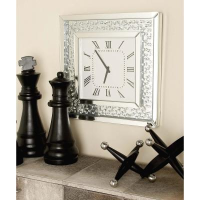 20 in. x 20 in. Modern Square Wood and Mirror Wall Clock