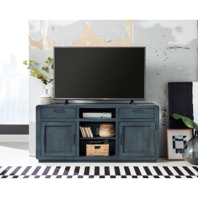 Allure 64 in. Blue Lagoon Wood TV Stand with 2 Drawer Fits TVs Up to 70 in. with Storage Doors