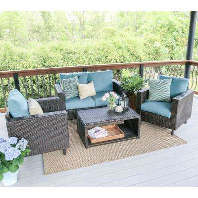 Draper 4-Piece Wicker Patio Conversation Set with Blue Cushions