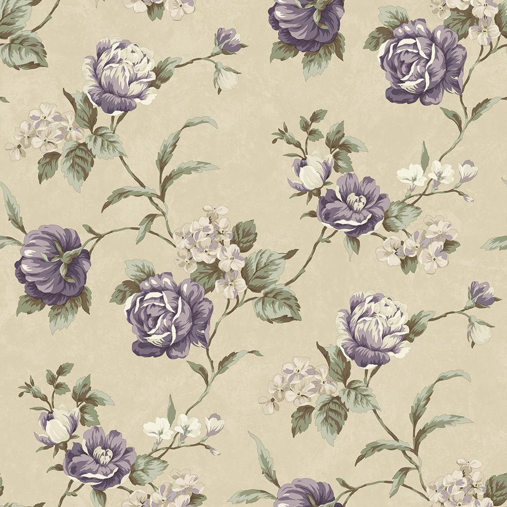 Gleason Grey Floral Rose Trail Wallpaper Sample