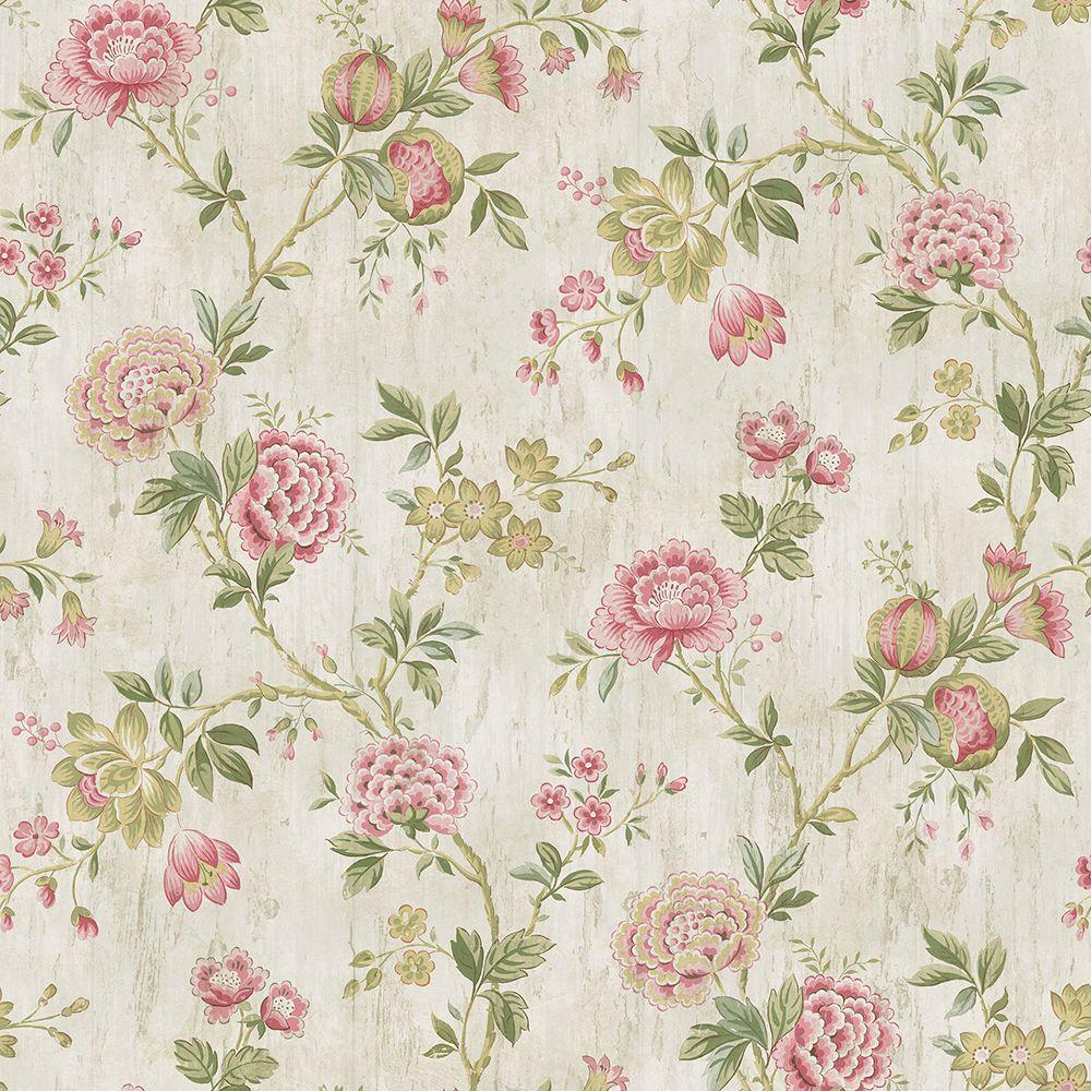 Chesapeake Chrysanthemum Pink Jacobean Wallpaper Sample