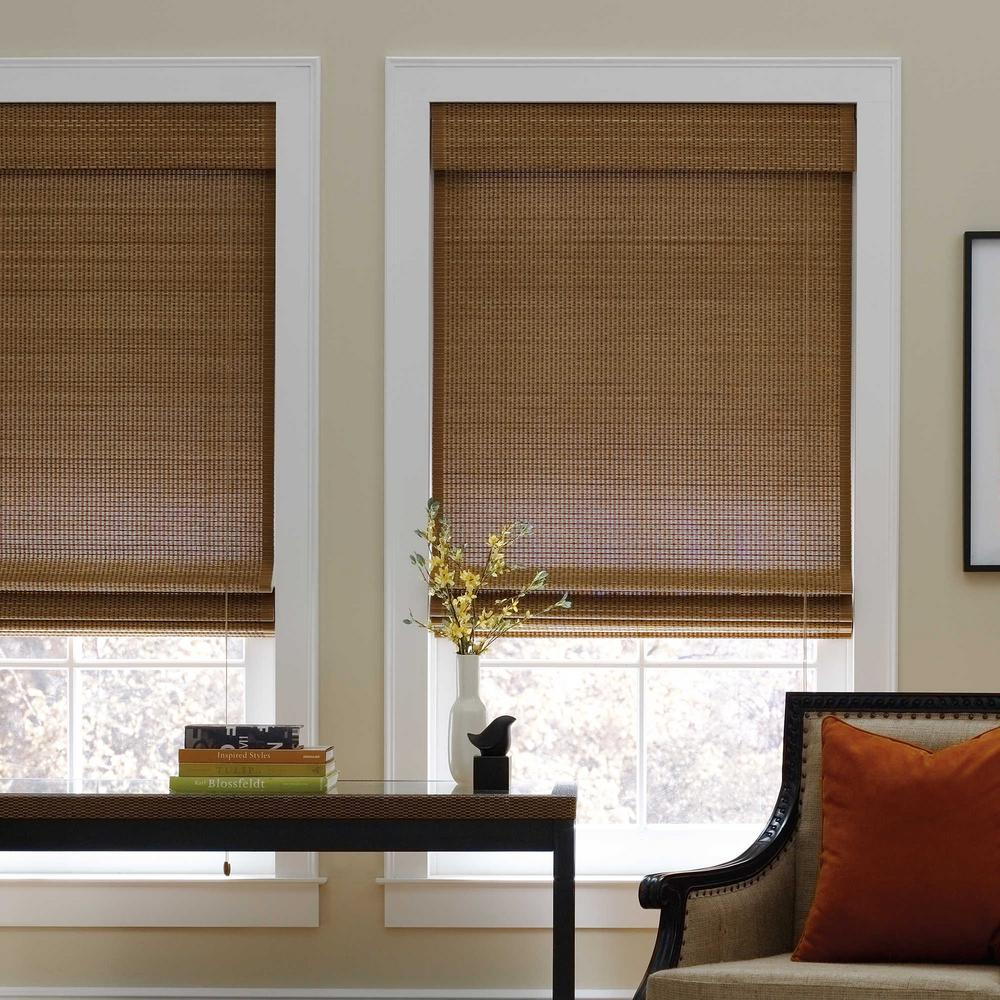 Cut-to-Width Sand Corded Natural Bamboo Roman Shade - 35 in. W