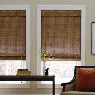 Cut-to-Width Sand Corded Natural Bamboo  Roman Shade -   61 in. W x 72 in. L