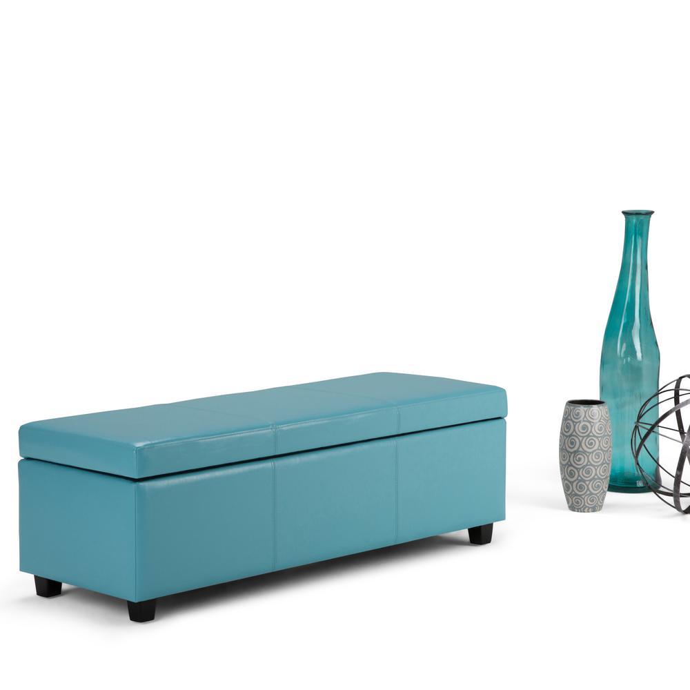 Avalon Blue Storage Bench, Blue With Dark