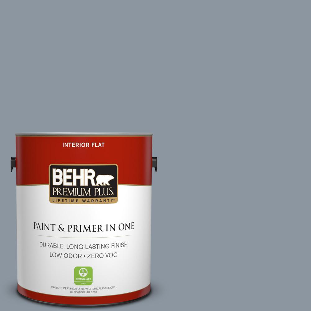 BEHR Premium Plus 1-gal. #750F-4 Raging Sea Zero VOC Flat Interior Paint