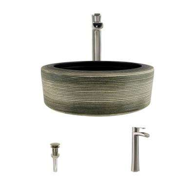 Ceramic Vessel Sink in Gray and Black with 731 Faucet and Pop-Up Drain in Brushed Nickel