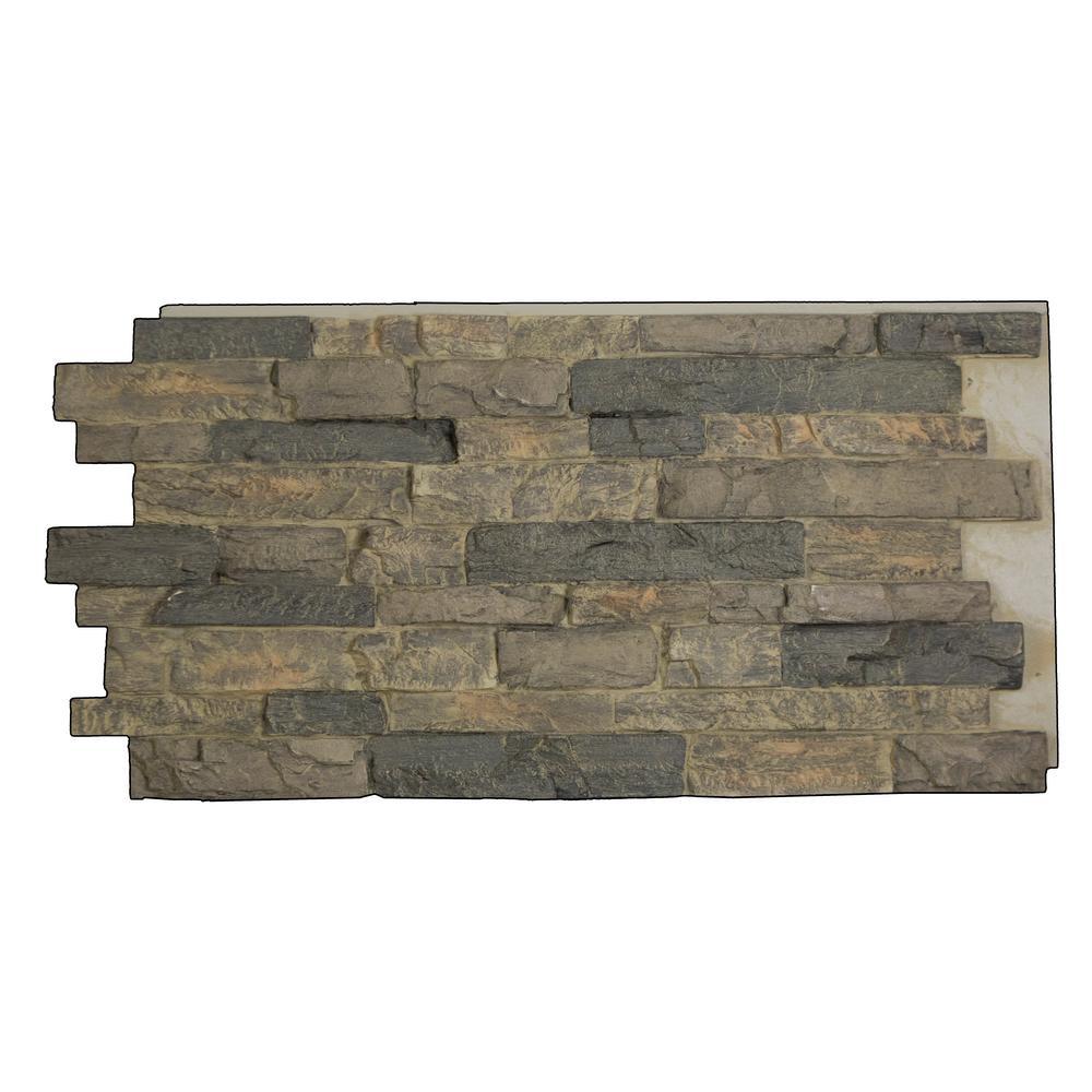 Snodonia Faux Stone Panel 1-1/4 in. x 48 in. x 24 in. Cliff Gray Polyurethane Interlocking Panel