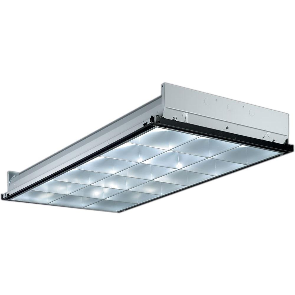 Lithonia Lighting 2 ft. x 4 ft. 3-Light Grid Ceiling Silver Parabolic Fluorescent Troffer with Pre-Wired and Lamped