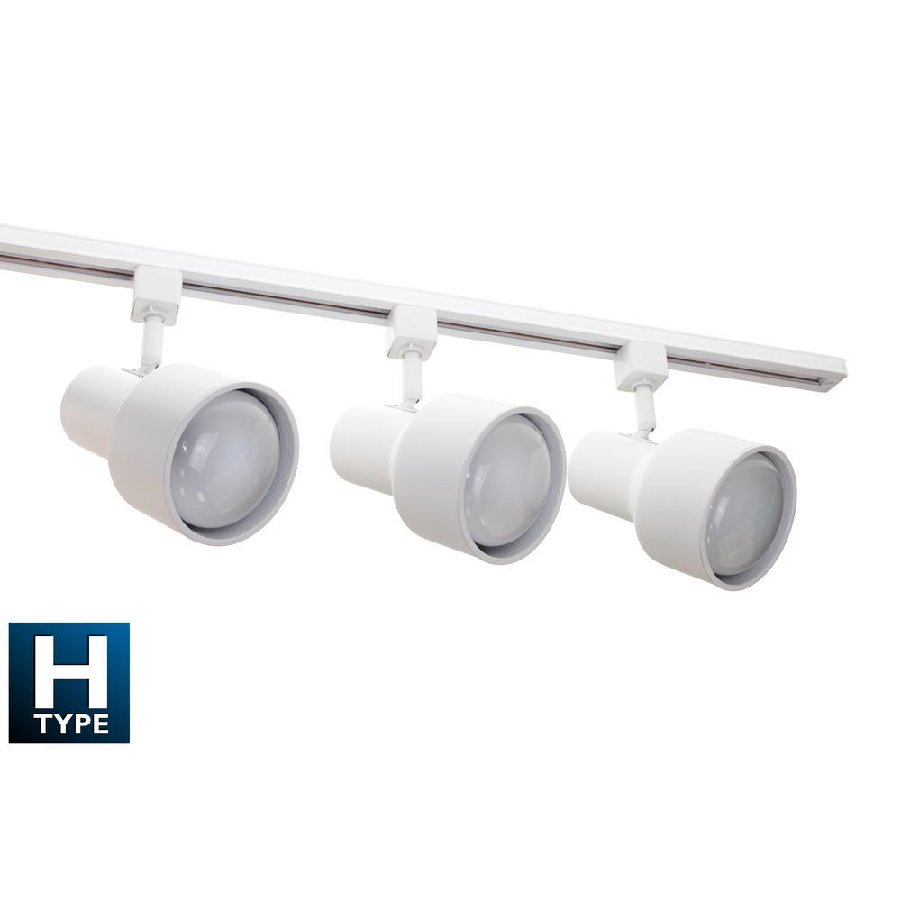 4 ft. 3-Light White Baffle Track Lighting Kit