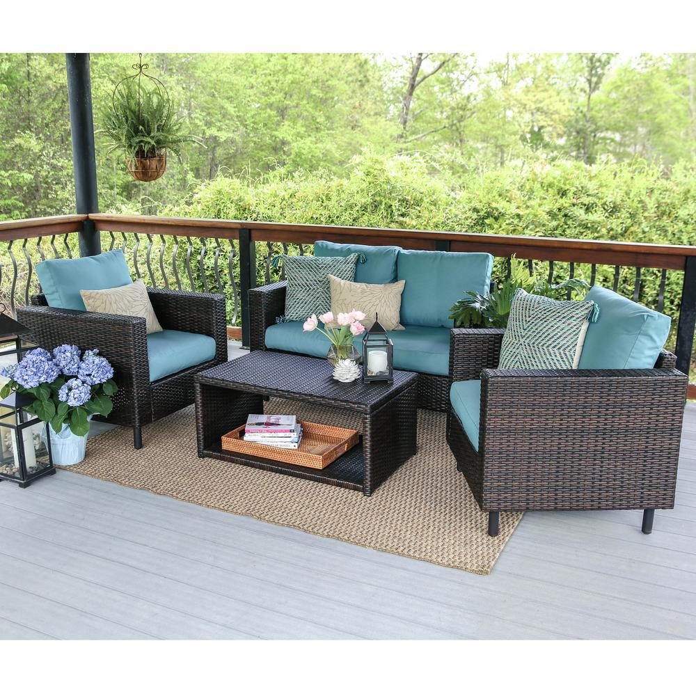 Draper 4 Piece Wicker Patio Conversation Set With Blue Cushions 104962 BLU    The Home Depot