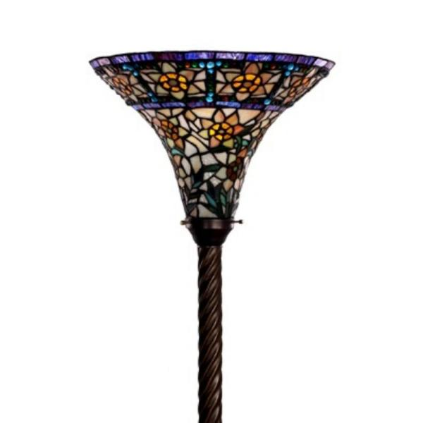 72 in. Antique Bronze Yellow Star Stained Glass Floor Lamp with Foot Switch