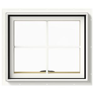 24 in. x 20 in. W-2500 Series White Painted Clad Wood Awning Window w/ Natural Interior and Screen
