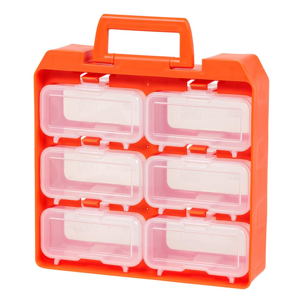 6-Compartment Storage Bin Small Parts Organizer in Orange