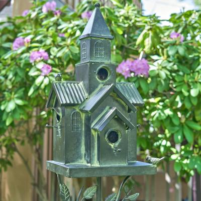 "75.75 in Tall Classic Style Galvanized Birdhouse Stake with Tall Chimney ""Yardley"""