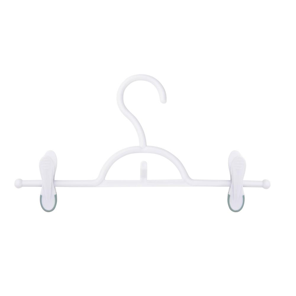Honey-Can-Do White Soft Touch Skirt and Pant Hanger with Clips (12-Pack)