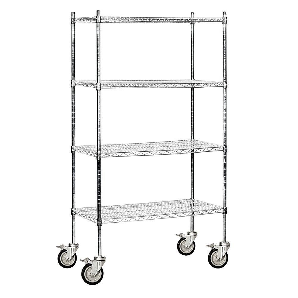 Salsbury Industries 9600M Series 36 in. W x 80 in. H x 18 in. D Industrial Grade Welded Wire Mobile Wire Shelving in Chrome