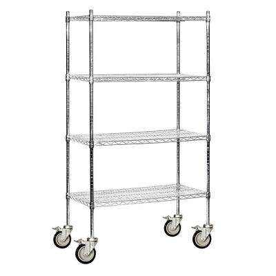 9600M Series 36 in. W x 80 in. H x 18 in. D Industrial Grade Welded Wire Mobile Wire Shelving in Chrome
