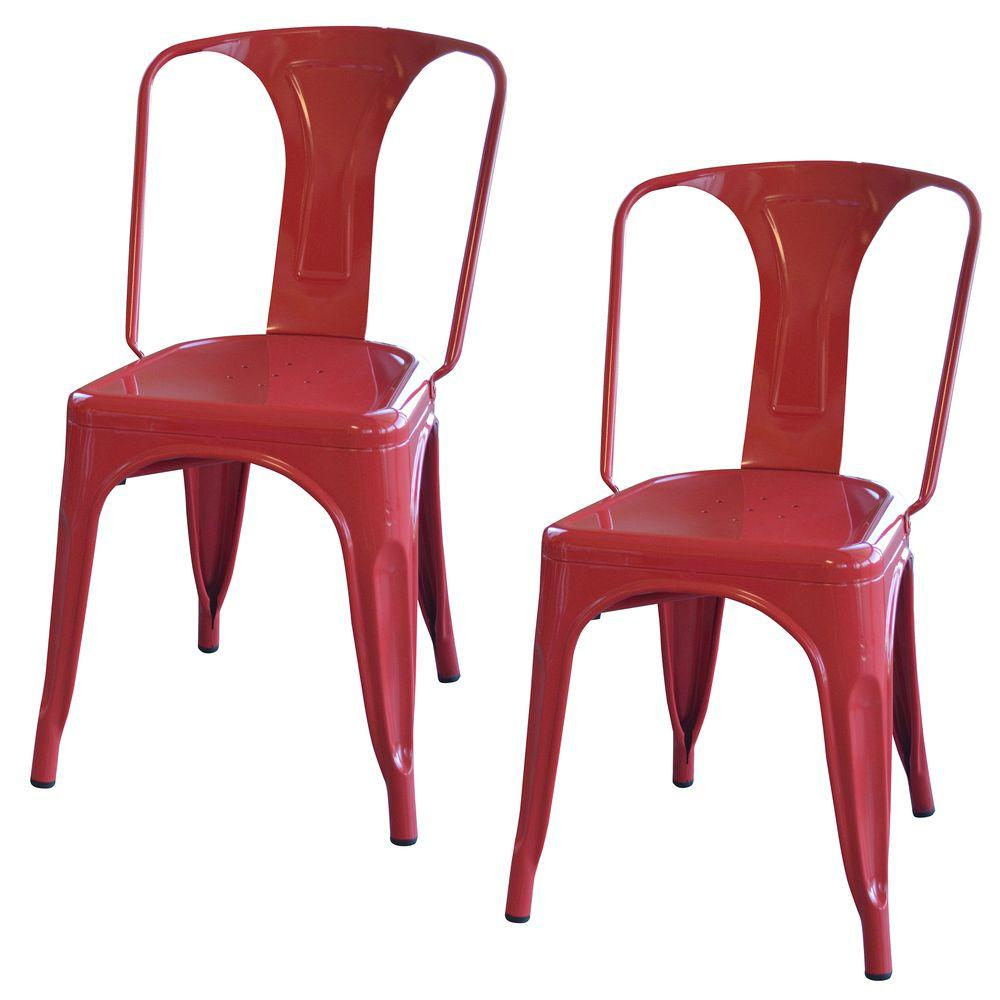 AmeriHome Red Metal Dining Chair (Set of 2)  sc 1 st  Home Depot & AmeriHome Red Metal Dining Chair (Set of 2)-BS3530RSET - The Home Depot