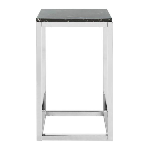 Leah Black Marble and Chrome Side Table