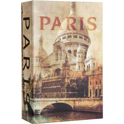 0.03 cu. ft. Steel Paris Book Lock Box Safe with Combination Lock, Tan