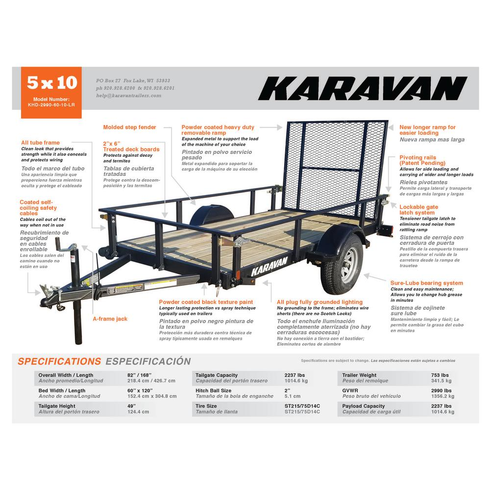 5x10 2237 lb. Payload Capacity Trailer