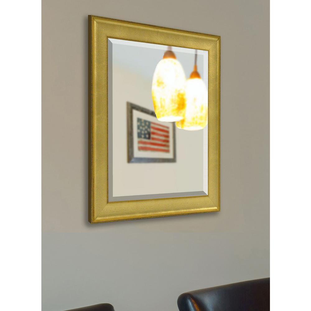 30 in. x 26 in. Vintage Gold Beveled Vanity Mirror